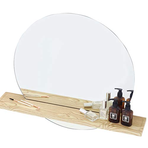 Wall Proof Explosion Mount (Wall Mounted Vanity Mirrors with Cosmetics Shelf Explosion-Proof Make-up/Cosmetic Wall Hanging Mirror for Living Room,Bedroom)