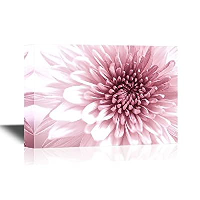 Floral Canvas Wall Art - Pink Chrysanthemum Flowers - Gallery Wrap Modern Home Art   Ready to Hang - 12x18 inches