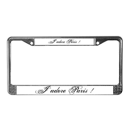 CafePress - I Love Paris - Chrome License Plate Frame, License Tag - Culture Official Love