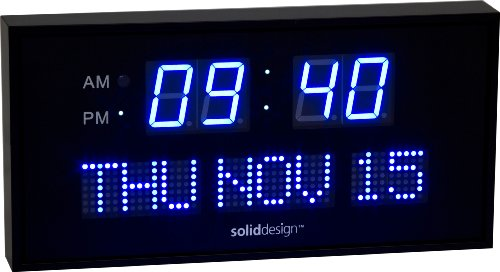 SolidDesign Big Digital LED Clock Blue LED 16 inches with