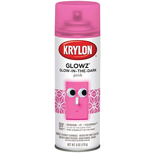 Pink Glow Paint (Krylon K03155007 Glowz Spray Paint, Glow-In-The-Dark Pink, 6)