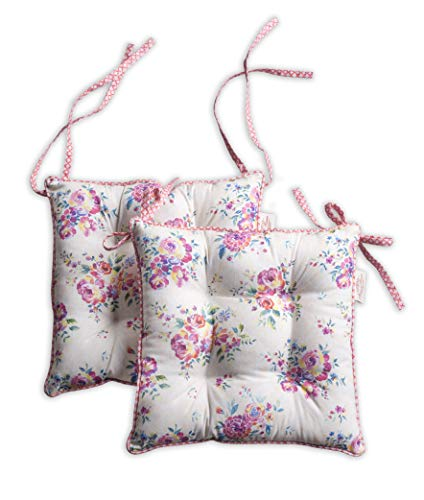 (Maison d' Hermine Rose Garden Set of 2 Chair Pads 16 Inch by 16 Inch)