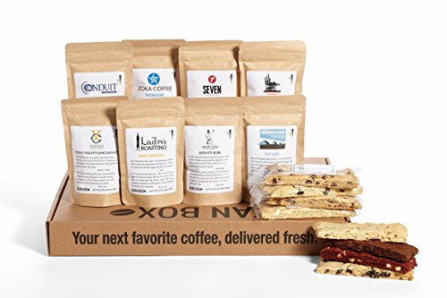 Bean Box Gourmet Coffee and Biscotti Deluxe Gift Box - (8 handpicked roasts + 8 artisan biscotti, whole bean coffee, biscotti cookies, treats and coffee, Christmas gift, holiday gift)