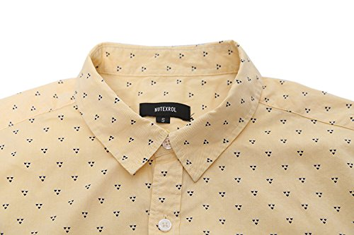 Giallo Corte Uomo Nutexrol In Casual Cotone Pois piccolo A Camisa Maniche Triangolo Per Camicia nvmN0w8