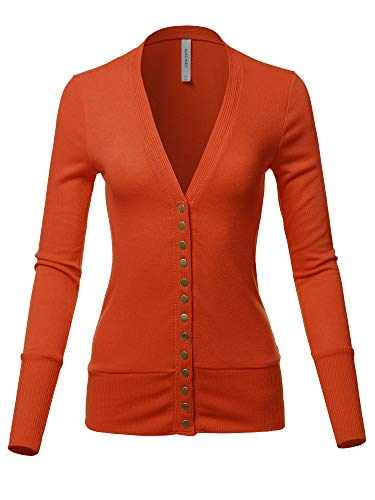 Causal Snap Button Long Sleeves Everyday Cardigan Copper ()