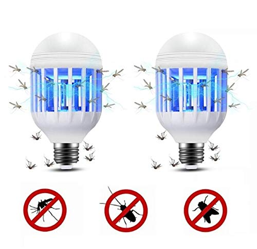 lixada Bug Zapper Light Bulb, 2 in 1 Mosquito Lamp UV LED Electronic Insect & Fly Killer for Indoor and Outdoor