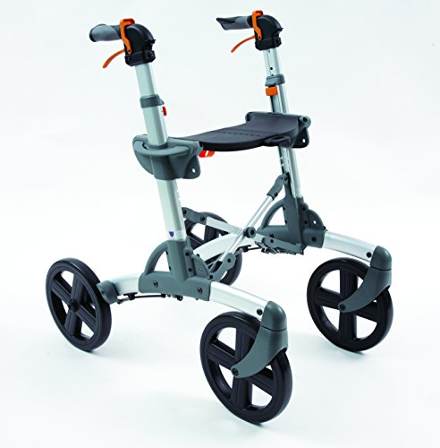 Volaris All Terrain Smart Patrol Fitness Rollator Walker With Four 10  Wheels And Seat  Folding  Lightweight  Aluminum