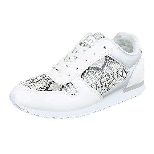 Ital-Design Sportschuhe Damenschuhe Geschlossen Sneakers Schnürsenkel Freizeitschuhe Weiß Schwarz A33009