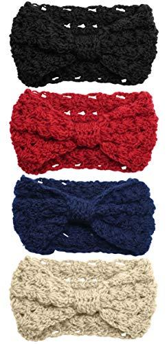 Bertelli 4 Pack Womens Winter Knit Headband & Hairband Ear Warmer (Black-Red-Beige-Navy) by Bertelli