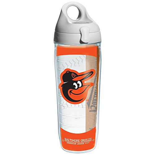 """Tervis 1130533""""MLB Baltimore Orioles"""" Water Bottle with Grey Lid, Wrap, 24 oz, Clear"""