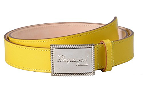Dsquared2 Womens Buckle (Dsquared2 Women's Yellow Genuine Leather Metal Buckle Decorated Belt US)