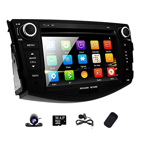 (Double Din Radio Car Stereo with Navigation for Toyota RAV4 2006-2012 Bluetooth Head Unit 7 inch indash DVD Touch Screen GPS SD USB Remote Steering Wheel Control)