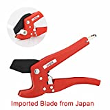 Pipe and Tube Cutter, Ratcheting Hose Cutter, One-hand Fast Pipe Cutting Tool with Ratchet Drive for Cutting Less Than 1-1/4' O.D. PEX, PVC, and PPR Pipe, Ideal for Plumbers, Home Handy Man and Mo