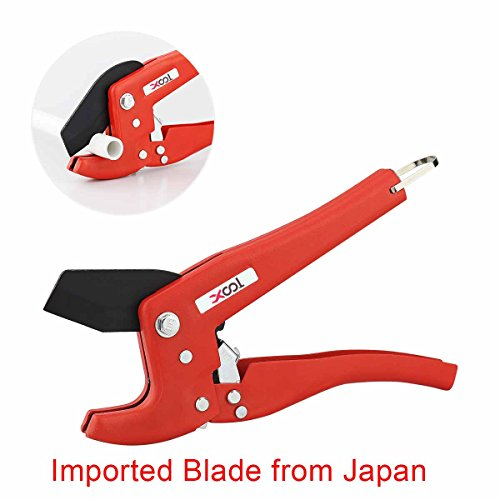 Pipe and Tube Cutter, Ratcheting Hose Cutter, One-hand Fast Pipe Cutting Tool with Ratchet Drive for Cutting Less Than 1-1/4 O.D. PEX, PVC, and PPR Pipe, Ideal for Plumbers, Home Handy Man and More