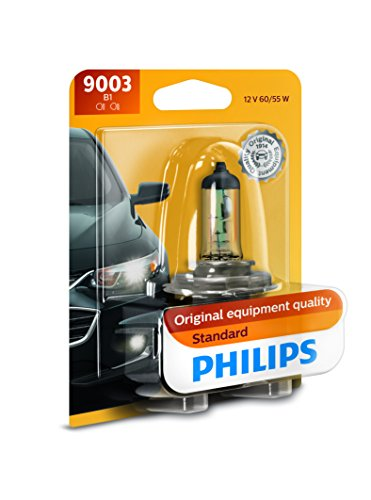 Philips 9003B1 Standard Halogen Replacement Headlight Bulb, 1 Pack (Custom Headlights Car)