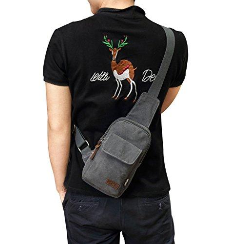 Supa Moden Canvas Schultertasche Crossbody Tagesrucksack Cool Umhängetasche Brust Tasche Taille Turnbeutel Sport Tasche für Damen und Herren grau YL7CAmbvG6