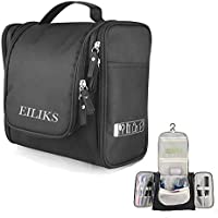 EILIKS Hanging Toiletry Bag Multifunction Cosmetic Bag Portable Cosmetic Travel Cases Waterproof Organizer Toiletry Kit for Girls Women Men (Black)