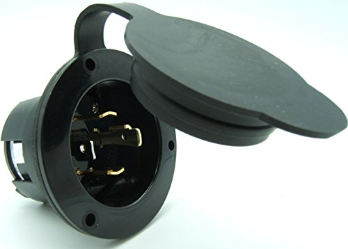Journeyman-Pro 2715, NEMA L14-30 Flanged Inlet Generator Plug, 30A 125/250 Volt, Locking Receptacle Socket, Black Industrial Grade, Grounding Welding Use 7500 ()