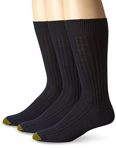 Gold Toe Men's 3-Pack Windsor Wool Dress Sock Navy Shoe Size: 6-12.5 / Sock size 10-13