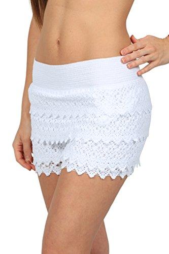 Cotton Summer Skirt (M&B USA Casual Shorts Cotton Crochet Lace Shorts Beach Summer Miniskirts (X-Large, White))