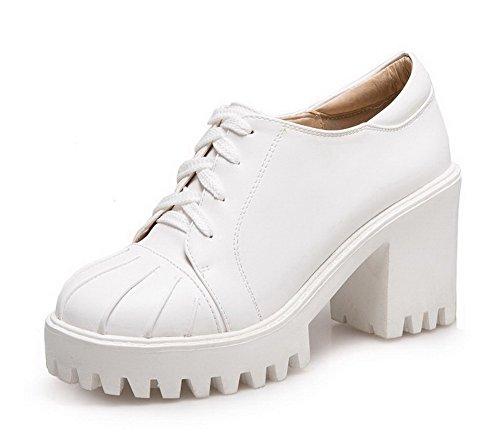 Damen PU Leder Ziehen auf Rund Zehe Hoher Absatz Gemischte Farbe Pumps Schuhe, Weiß, 40 VogueZone009