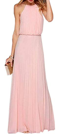 f7dc2453f5f74b SELX-Women Pleated Sleeveless Halter Retro Flowy Chiffon Dress Evening Gown  Maxi Dress one US