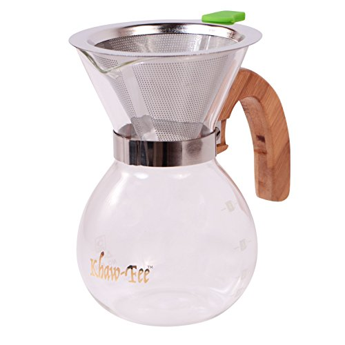1-3 Cup Pour Over Coffee Maker from Khaw-Fee - Includes Permanent Stainless Steel Pour Over Filter - Paperless - Heat Resistant Glass Carafe - Enjoy Full Bodied Coffee - Perfect for Home or Office