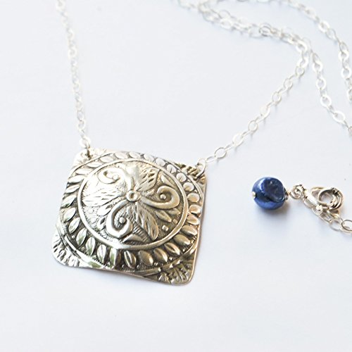 Pearl Textured Coin - Ma'at Medallion Argentium Silver Necklace with Blue Pearl by BANDANA GIRL