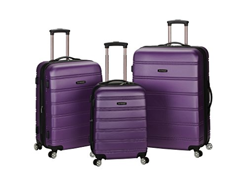 Rockland Luggage Melbourne 3 Piece Abs Luggage Set, Purple, Medium by Rockland