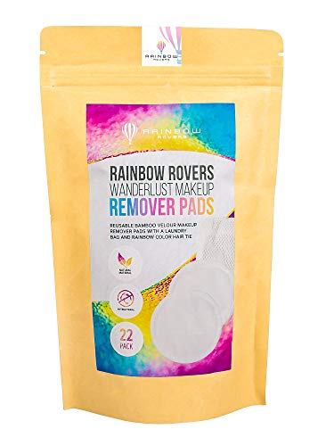 RAINBOW ROVERS Makeup Remover Wipes | Zero Waste Reusable Bamboo Velour | Pads for All Skin Types and Toners | Cotton Rounds' Eco Friendly Alternative | 22pc | Free Bonus Hair Ties