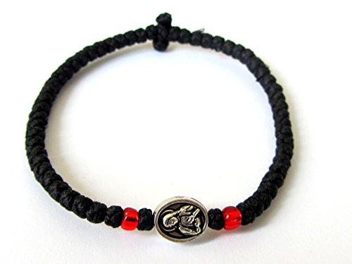 Iconsgr Handmade Christian Orthodox Komboskoini, Prayer Rope Bracelet Black VM2