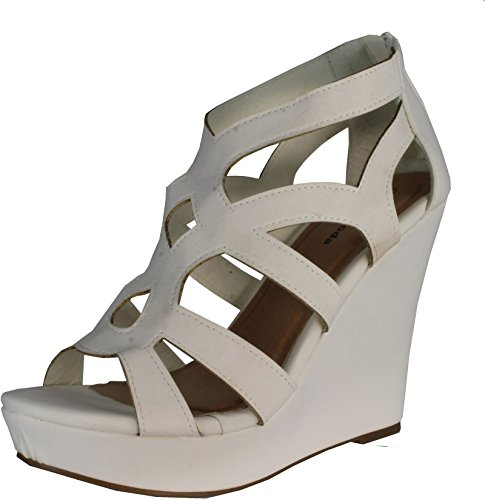 White High Wedge - Top Moda Ella-15 Platform Sandals, White Pu, 7.5