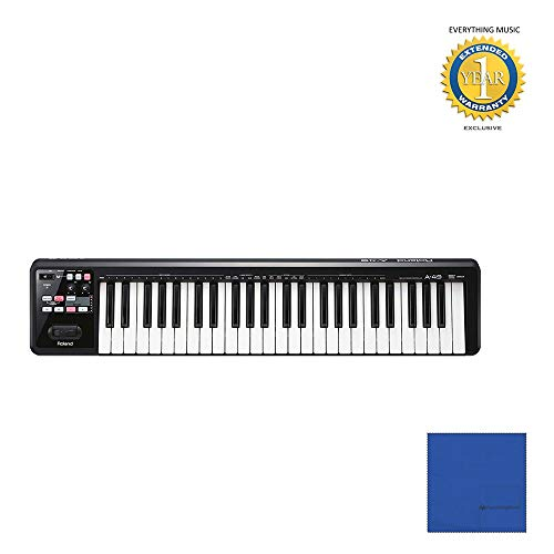 Roland A-49 49-Key MIDI Keyboard Controller Black (A-49-BK) with Microfiber and 1 Year Everything Music Extended Warranty