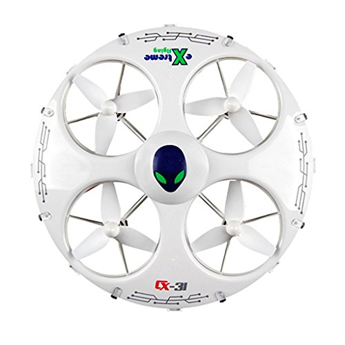 KiiToys UFO Drone RC Quadcopter CX-31 - Flying Saucer 3D Flip Roll Helicopter, 6 Axis Gyroscope, 4 Channels Radio Control, 2.4 ghz 4CH Headless (Ufo Radio Controlled Toy)