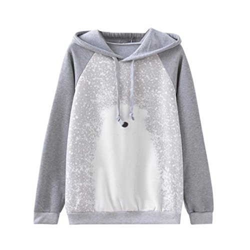 Anshinto Women Long Sleeve Warm Polar Bear Print Fleece Hoodies Shirts Blouse Tops - Top Sleeve Fleece Long Polar