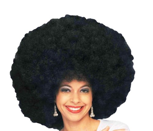 Forum 70's Disco Deluxe Jumbo Afro Wig, Black, One Size - Disco Afro Wig In Black