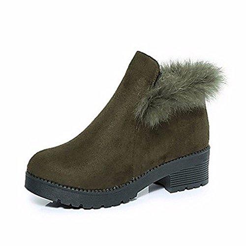 Automne Bottes Rond Bout Neige Éclair Pour Zhudj Black Confort Femmes Boots Fermeture Mode Talon Hiver Chaussures PPWvct