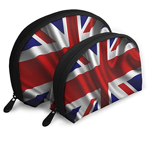 Makeup Bag Best British Flag Portable Shell Pouch For Girls Halloween Gift 2 Piece -