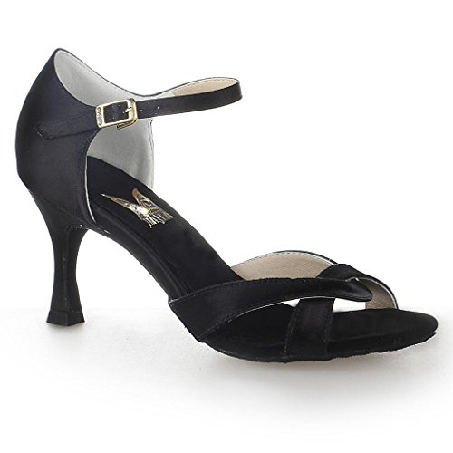 Chaussures Jia Jia Noir satin de danse latine 20514 gUwR6qx