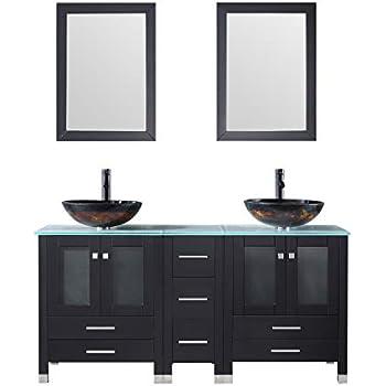 Sliverylake 60 black mdf double bathroom vanity cabinets - Bathroom vanity and mirror combo ...