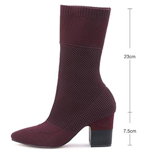 de de Red tacón Botas stovepipe elásticas alta De rodilla botas rodilla de mujeres RED Botas de de punto becerro de 39 calcetines Botas 39 bajo de de la ancho las Damas wpq8I1S