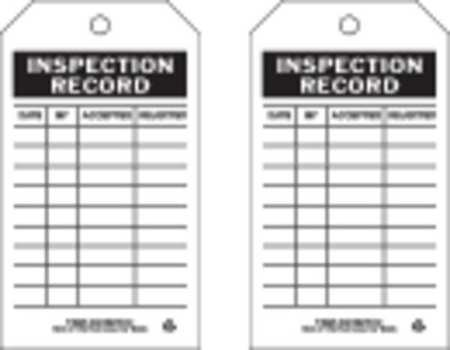 Inspection Rcd Tag, 7 x 4 In, Bk/Wht, PK10 by Brady (Image #1)