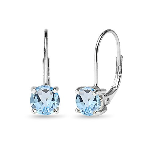 - Sterling Silver 6mm Round-Cut Blue Topaz Leverback Earrings