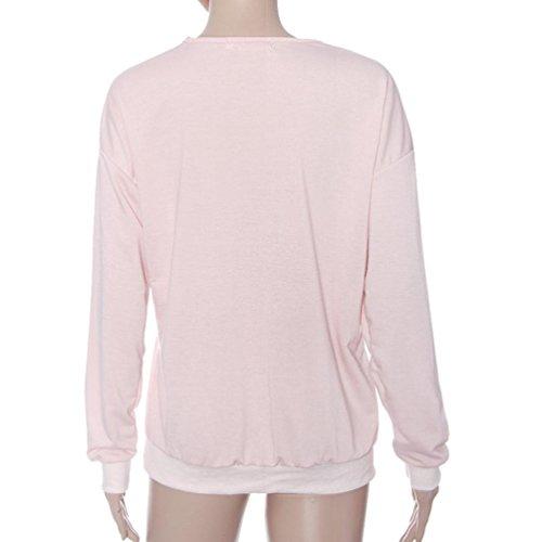 Rcool - Blusas para Mujer - Camiseta Profunda De V Ajustado de la Cremallera Floja Pulóver Sudadera Tops de la Blusa Rosa