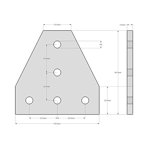 Mergorun,3D Printer Aluminum T Shaped 5 Hole 60x60x4mm Joining Plate for 2020 v-slot/T-slot Aluminum Extrusion Pack of 8 by Mergorun (Image #3)