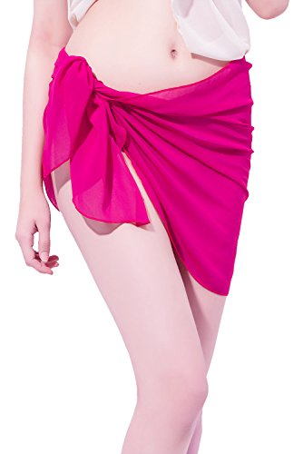 LD DRESS Chiffon Cover up Swimwear Beach Sarong Pareo Canga Swimsuit Wrap (Rose red)