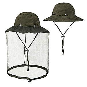 FitsT4 Mosquito Head Net Hat UPF 50+ Safari Hat Wide Brim Fly Bug Hat Insect Bee Mosquito Gants with Hidden Net Mesh for Outdoor Lover Men & Women