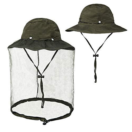 FitsT4 Mosquito Head Net Hat UPF 50+ Safari Hat Wide Brim Fly Bug Hat Insect Bee Mosquito Gants with Hidden Net Mesh for Outdoor Lover Men & Women (Best Fly Fishing Hat)