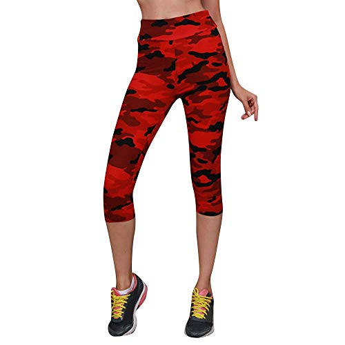 (JESPER Women Knee Length High Waist Yoga Pants Sport Camouflage Stretch Cropped Leggings Red)