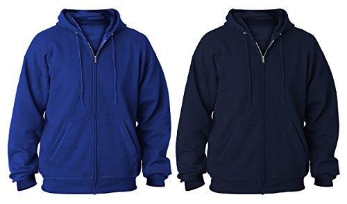 Hanes Adult Full Zip Hoodie Pullover, Navy/Deep Royal, L